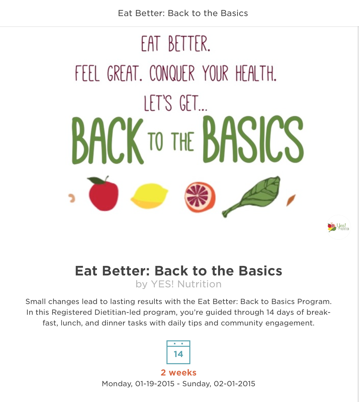 Eat Right! Get Back to the Basics with this 2-week nutrition coaching program from YES! Nutrition starting Monday January 19th on Vimify!