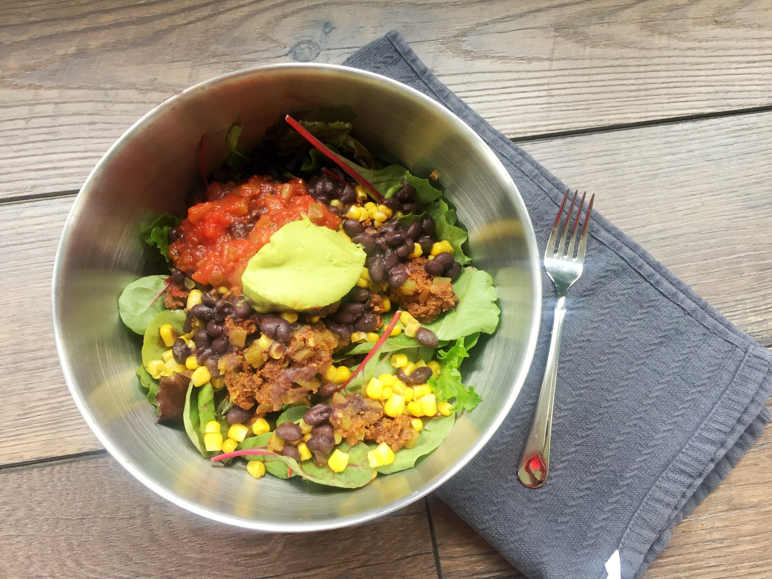 """Taco Salad with Neat Mexican Mix Plant-Based """"Meat"""""""