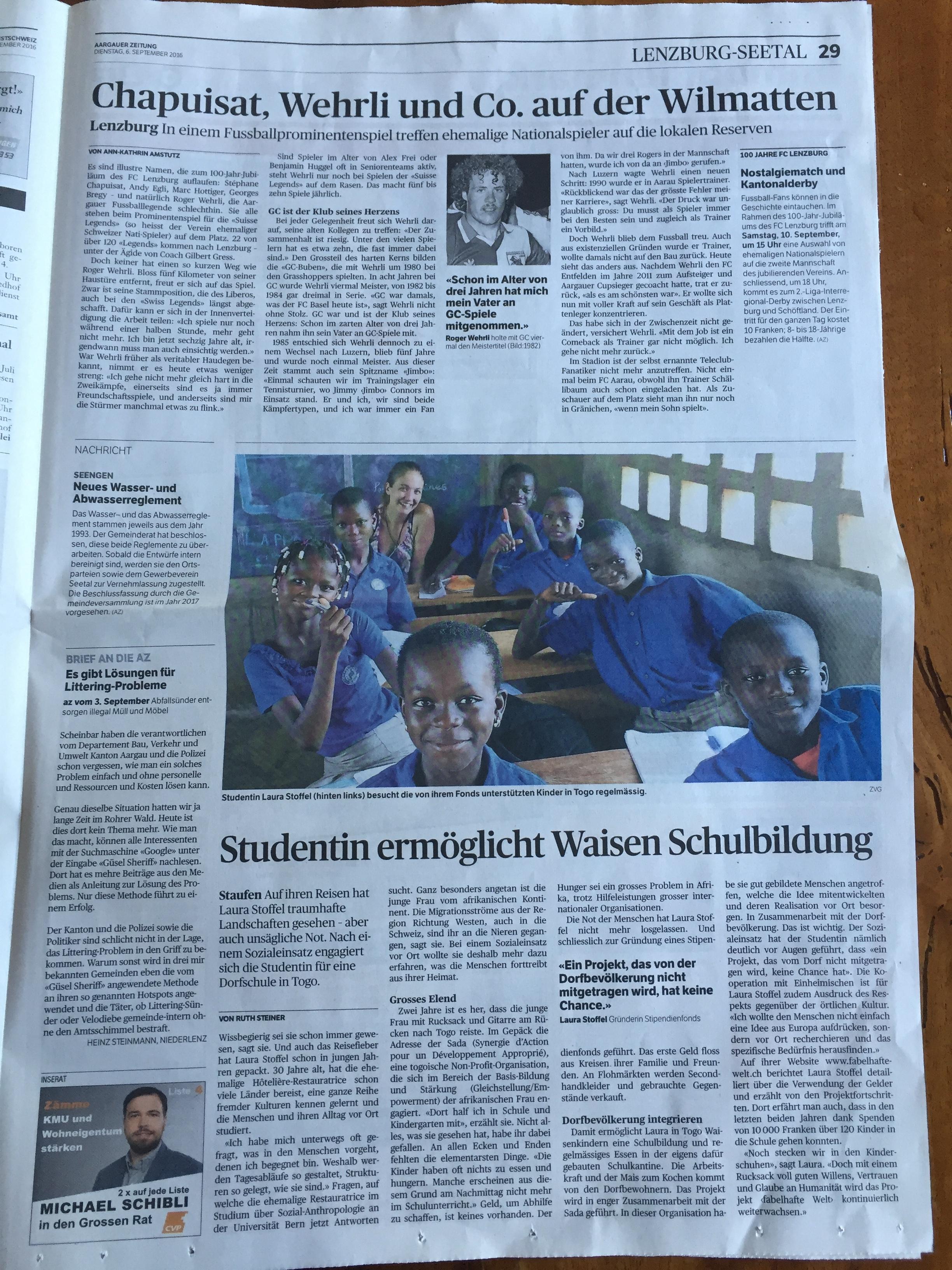 Aargauer Zeitung, 6. September 2016