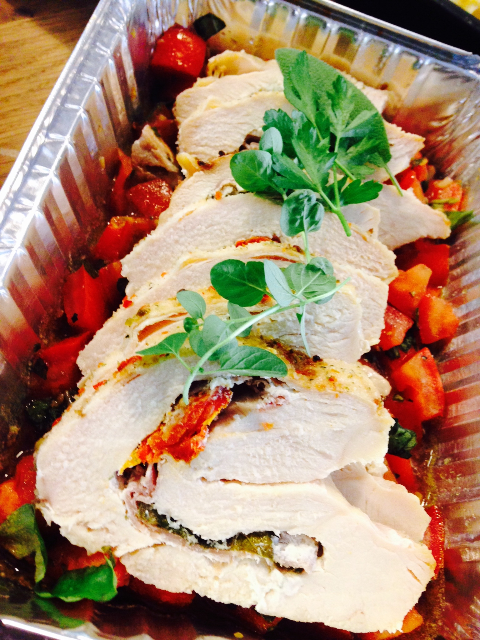 Italian stuffed chicken breast with fresh tomatoes