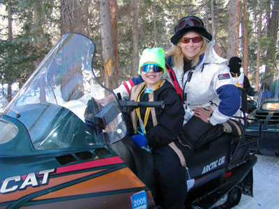 Kaity snowmobiling at the Aspen Winter Games Program