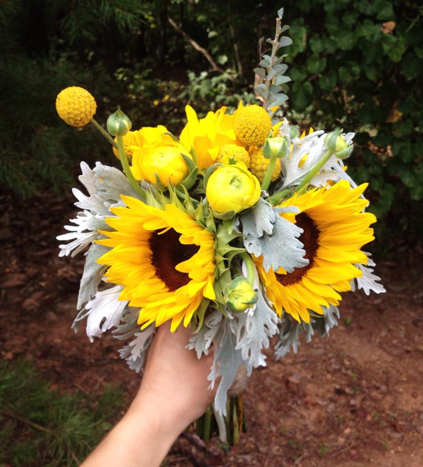 sunflower bridesmaid bouquet