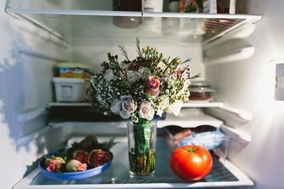 NOPE. doesn't work - the humidity and temperatures in your fridge will kill your flowers.