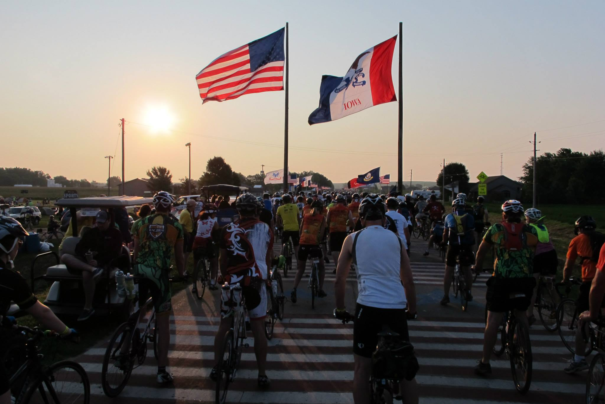 Flags flank the start line at the edge of Rock Valley.