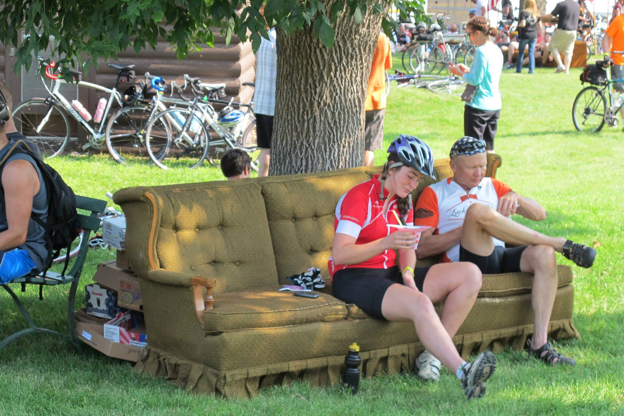Pull up a couch in the shade of a tree and rest those weary legs.