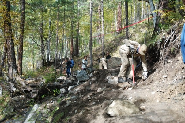 Volunteers of the Great Baikal Trail Association construct a new route near the village of Arshan.