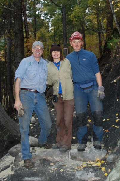 Trail work with Siberian colleagues Natasha Lushkova and Roma Chubakov.