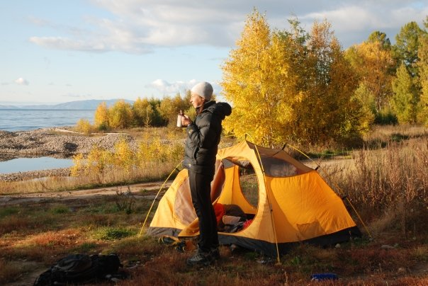 Camping on the shores of Lake Baikal.