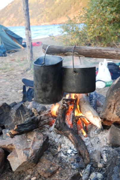 Cooking stew over an open fire – Siberian style.