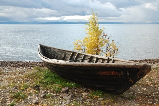 On the shores of Lake Baikal.