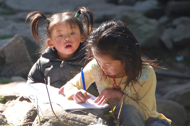 Sherpa girls with homework
