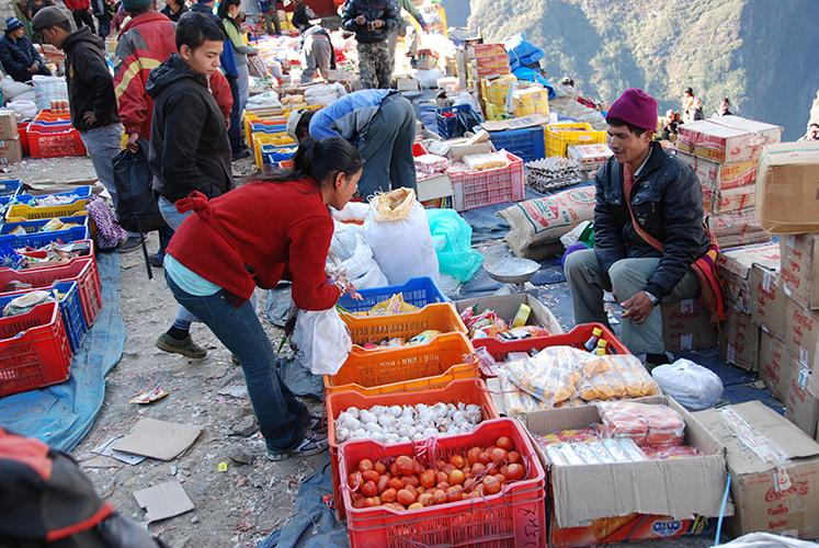 Open air market in Namche Bazaar