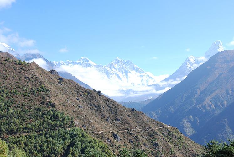 Everest summit (center left) from above Namche Bazaar