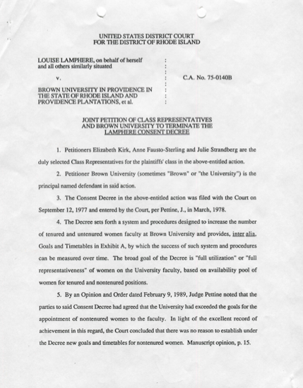 Click document to read full text  Lamphere v. Brown University, C.A. 74-0140, D.R.I., National Archives at Boston