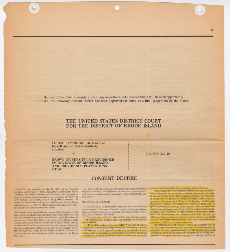 Pages from the Consent Decree entered on September 12, 1977, with annotations by Anne Fausto-Sterling. Brown University Archives