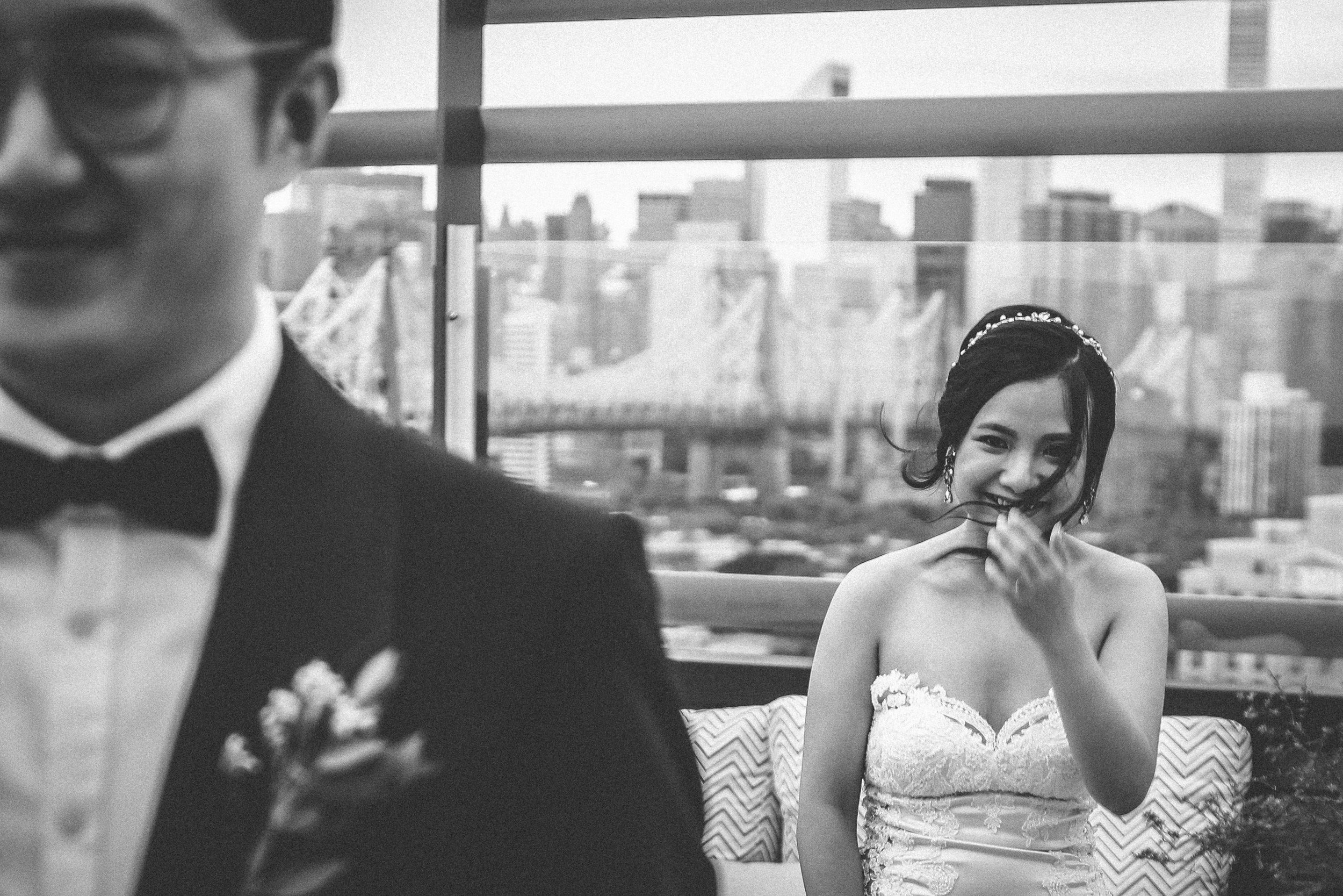 first look pictures, Brooklyn wedding photographer - Boro Hotel