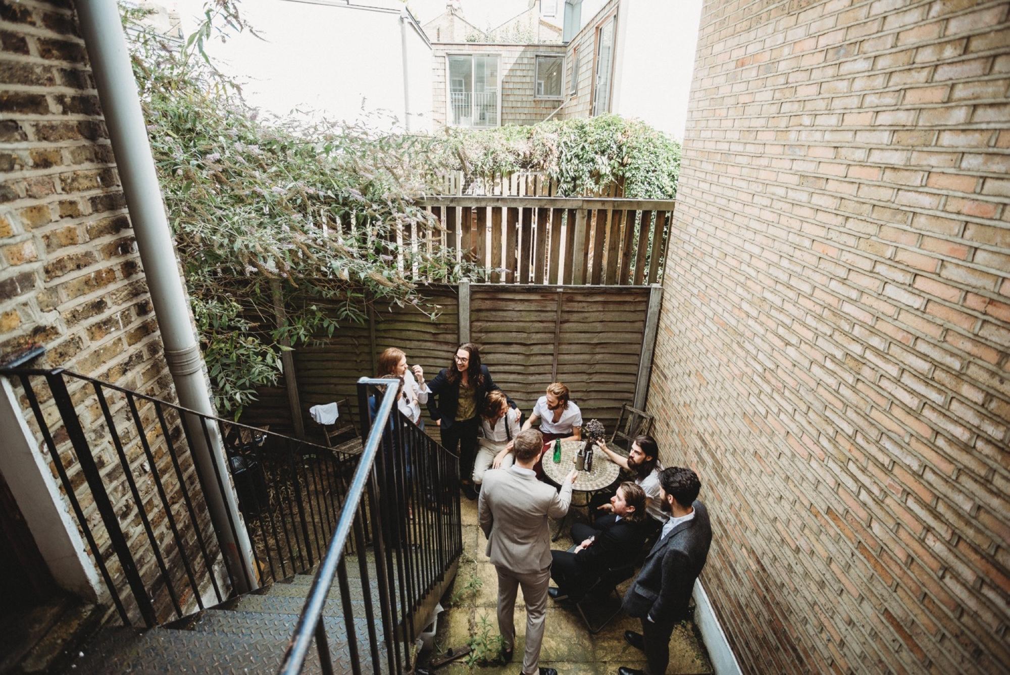 groomsmen hackney apartment London wedding zakas photography