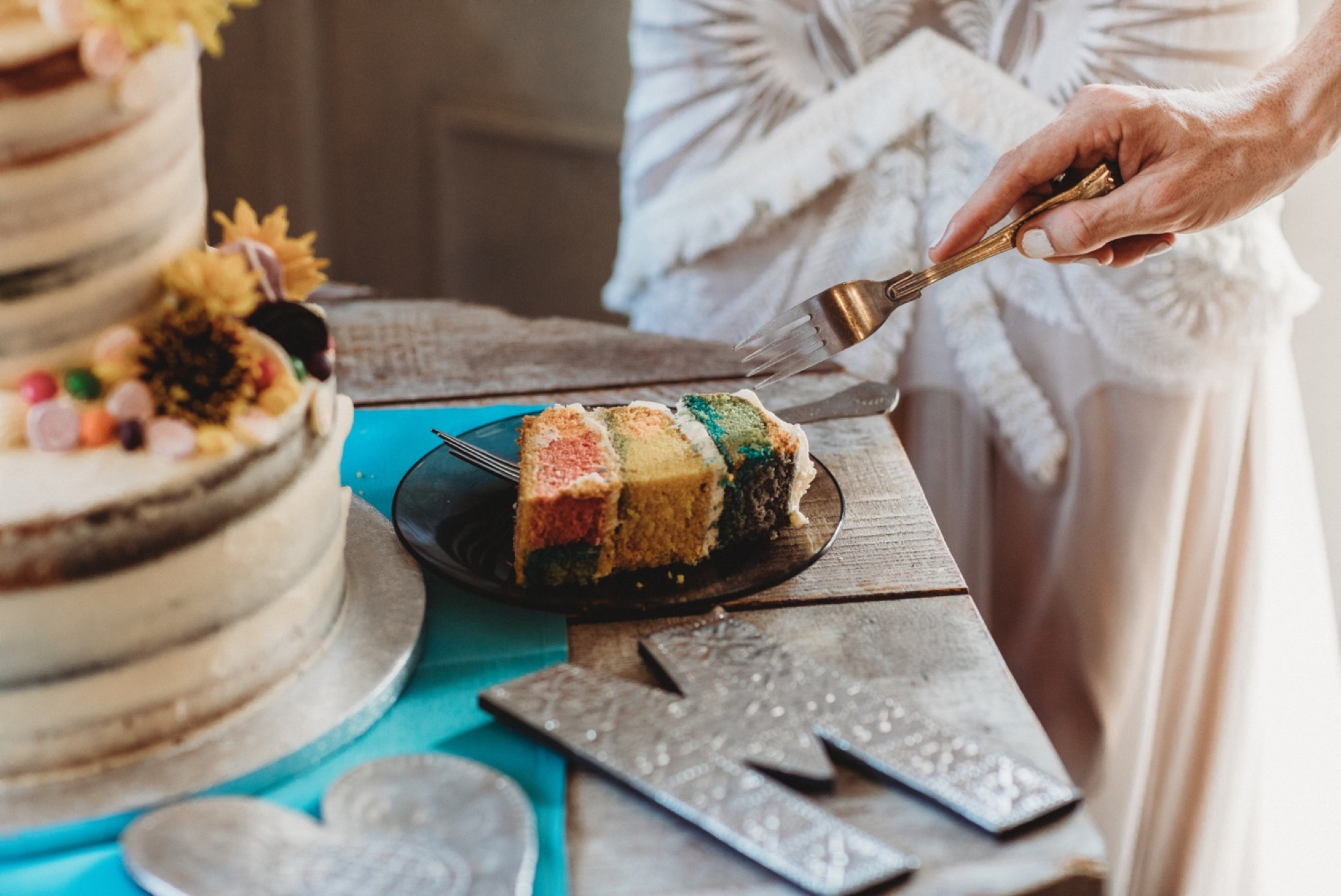 hackney London wedding reception rainbow vegan cake by zakas photography
