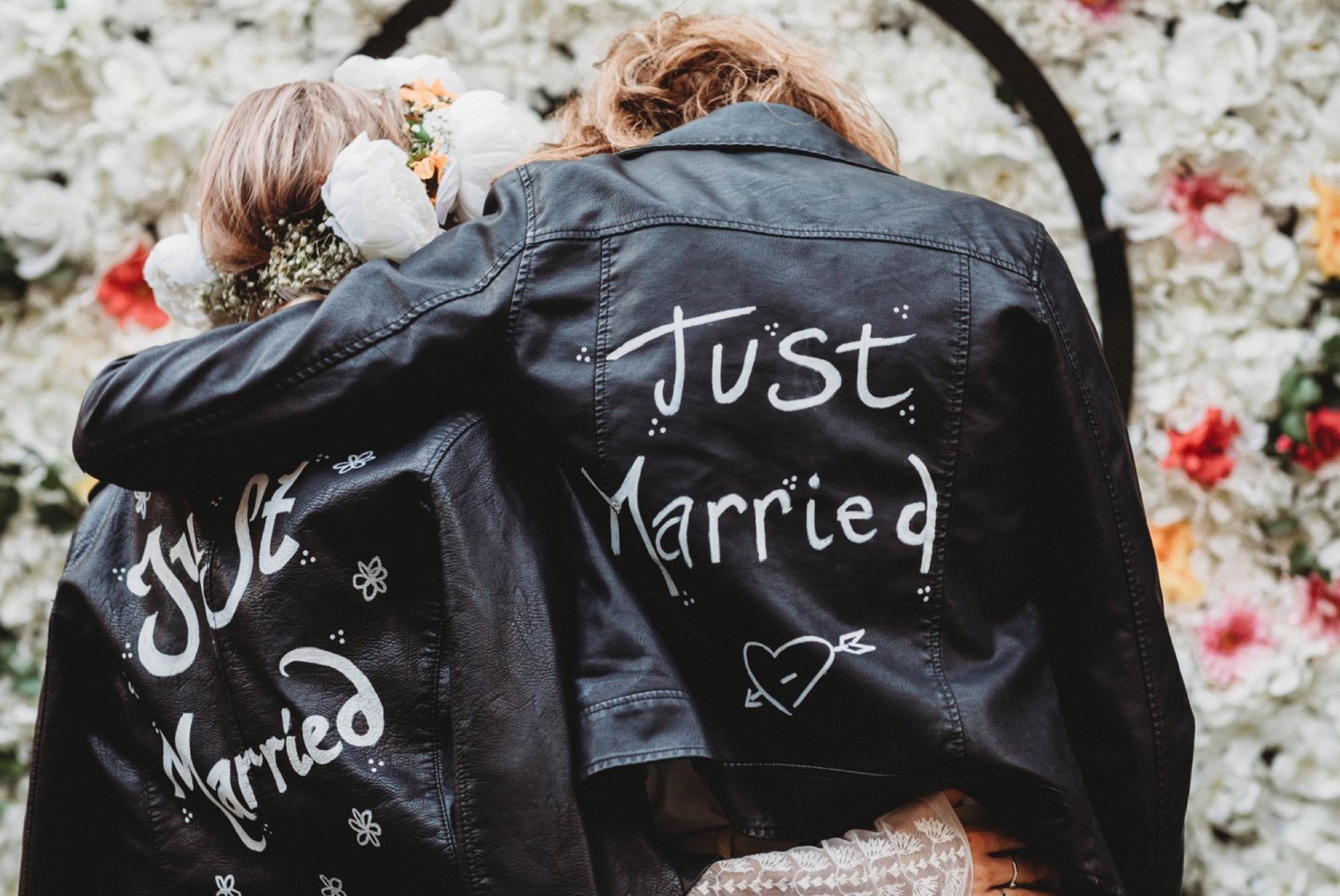hackney London wedding reception vegan leather jackets by zakas photography