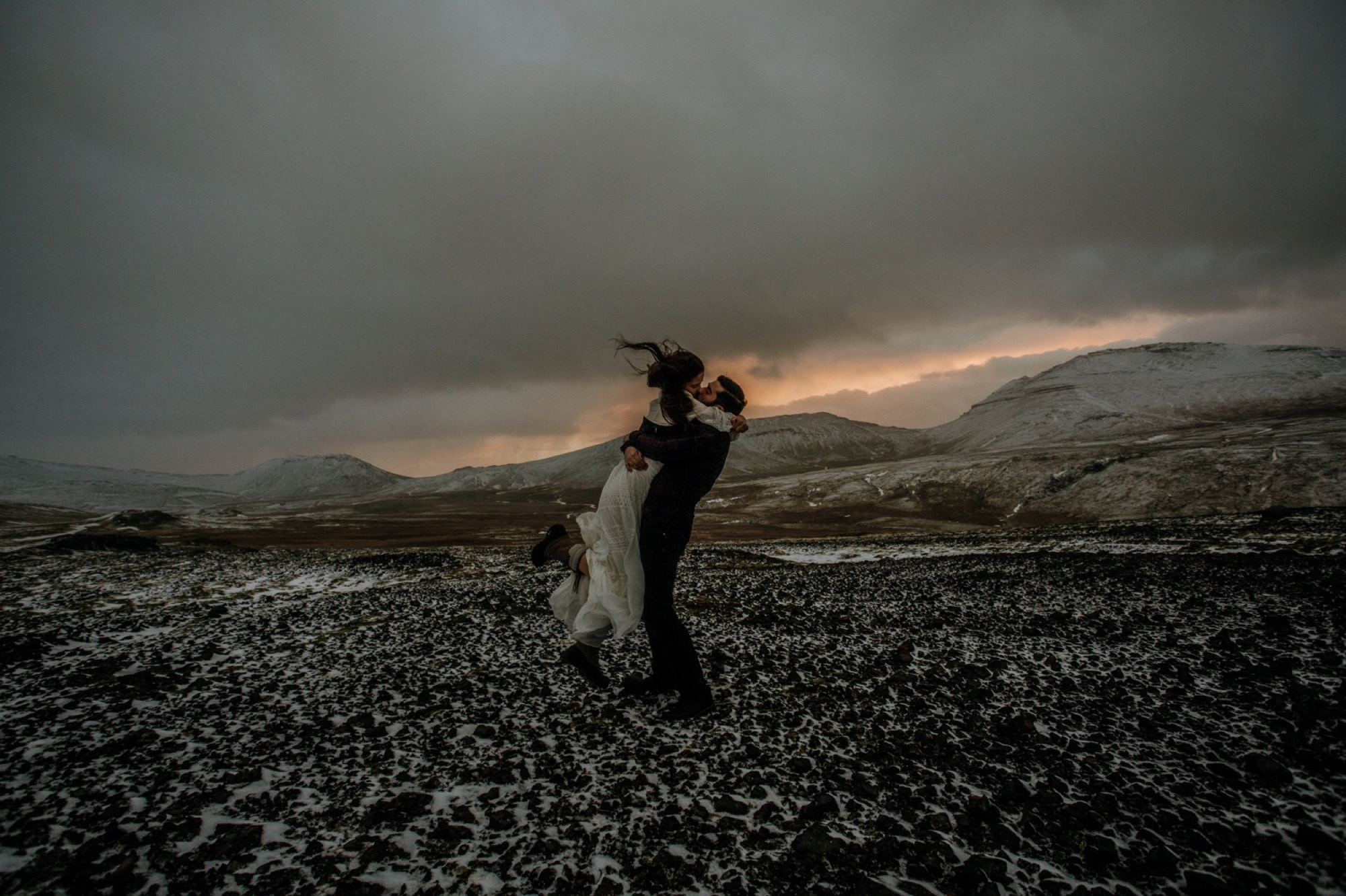 iceland elopement mountain top