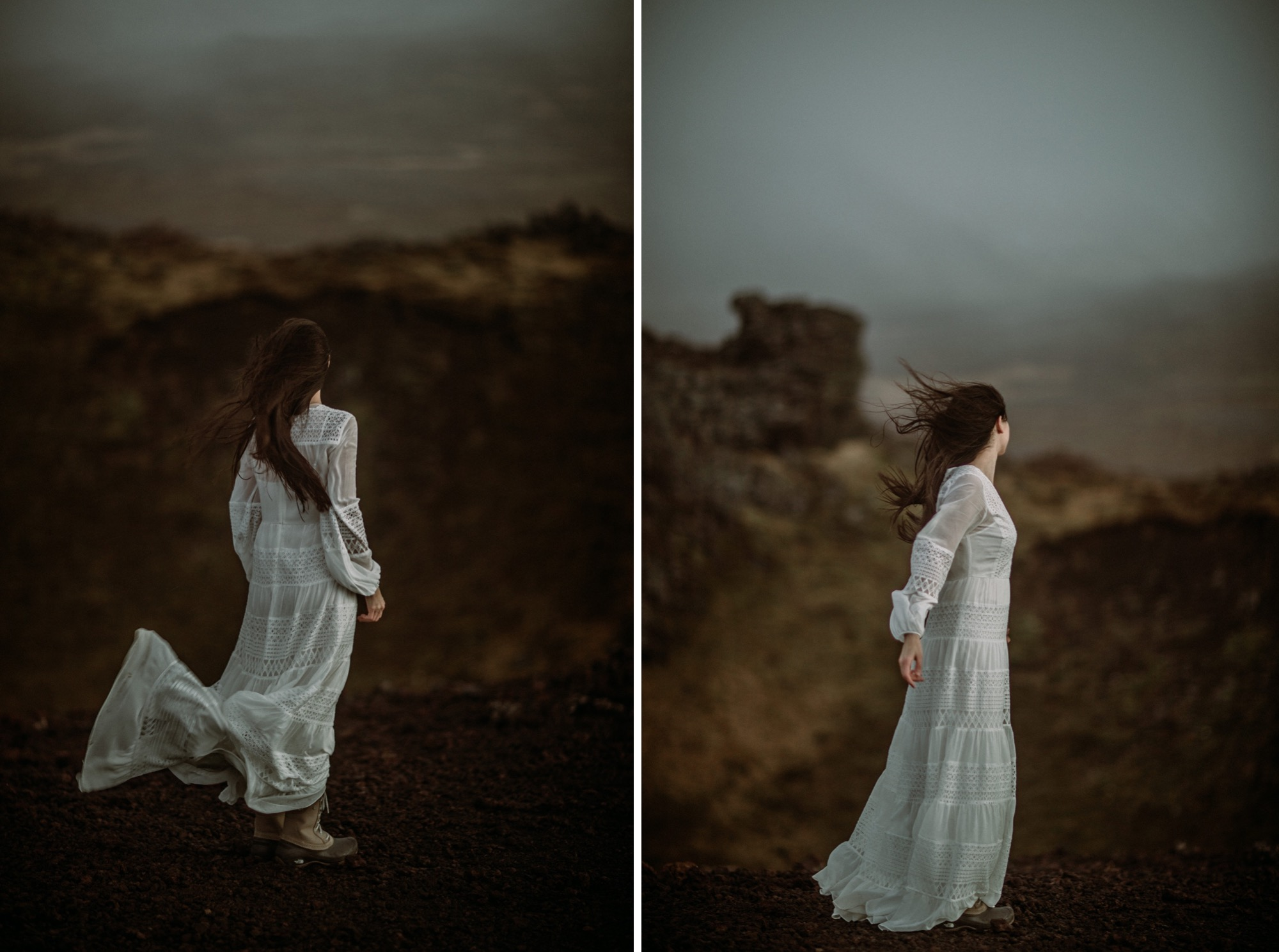 iceland elopement on volcano