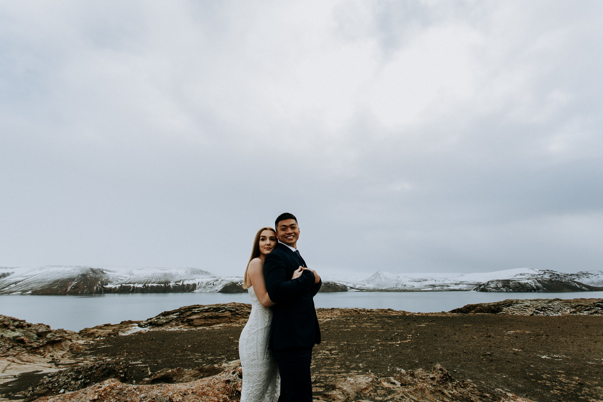 iceland elopement on frozen lake