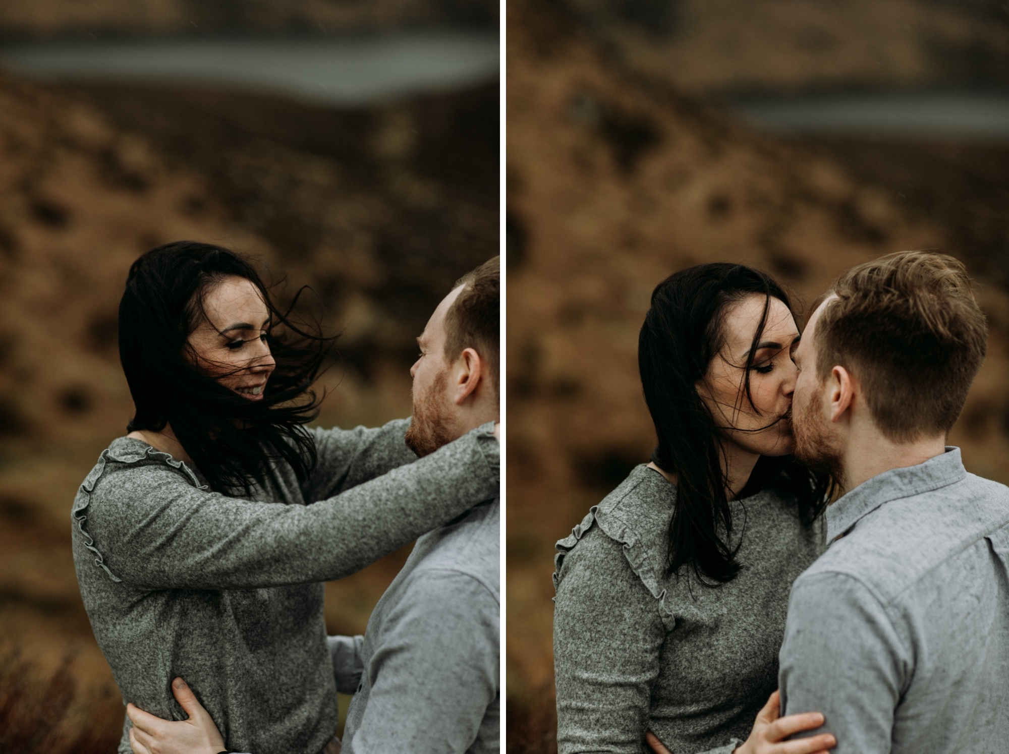 windy wicklow mountains Ireland engagement photos