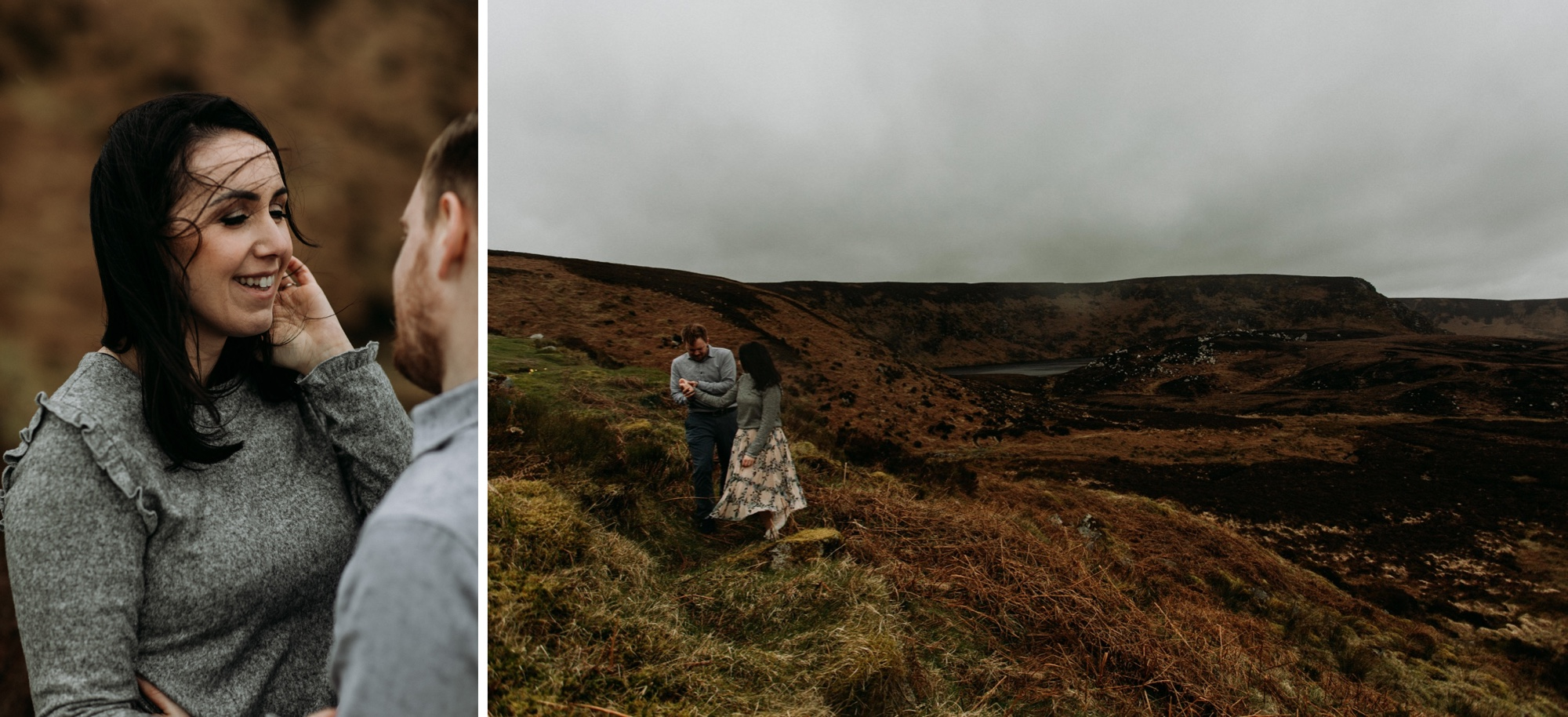 cute wicklow mountains Ireland engagement photos
