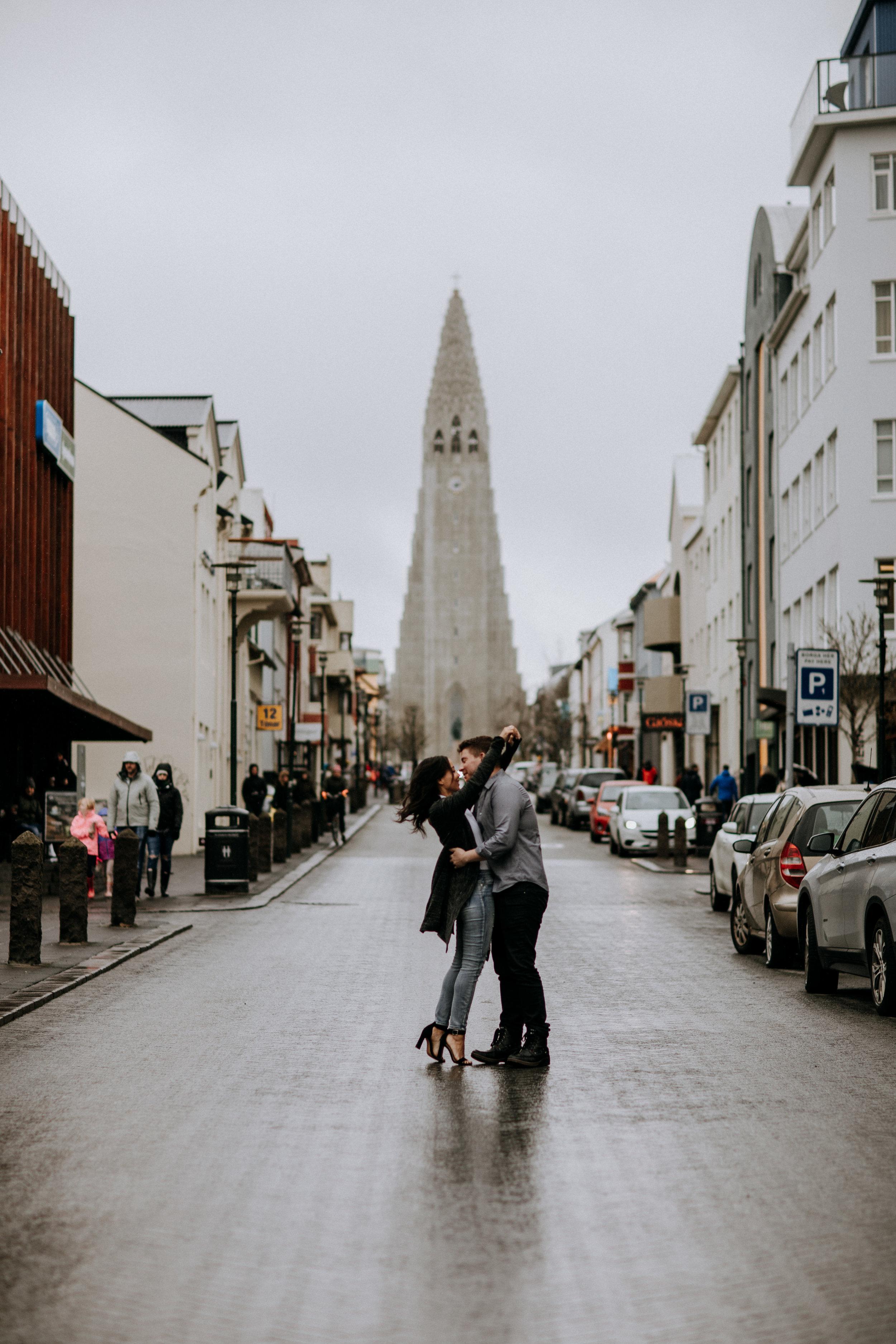 engagement session downtown reykjavik hallgrimsjirkja church