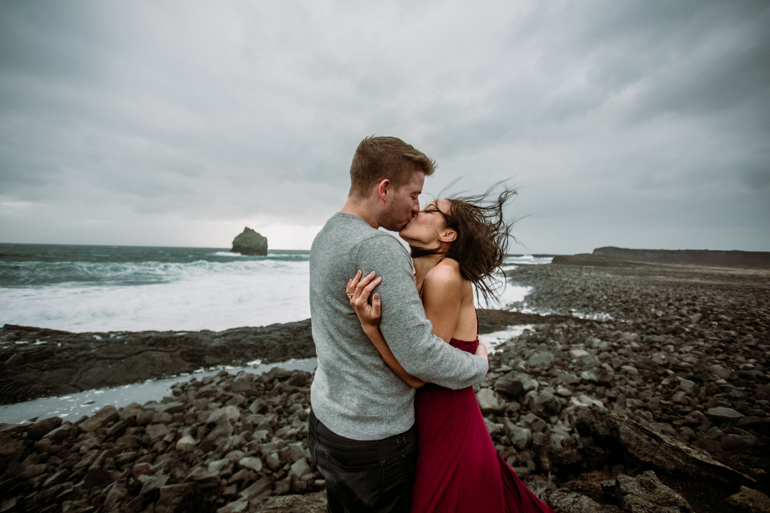 epic iceland engagement session in wind