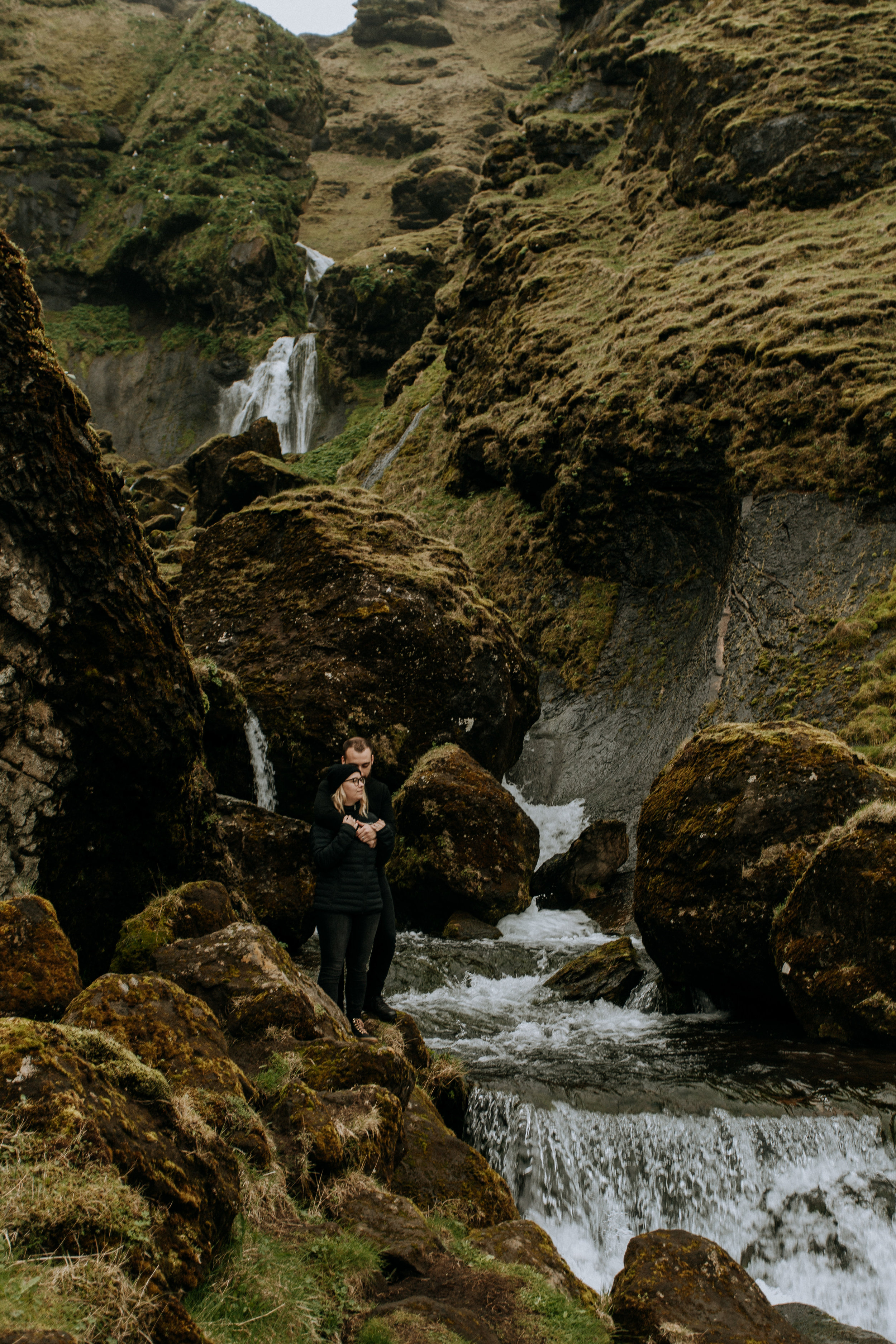 secret waterfall engagement photos iceland