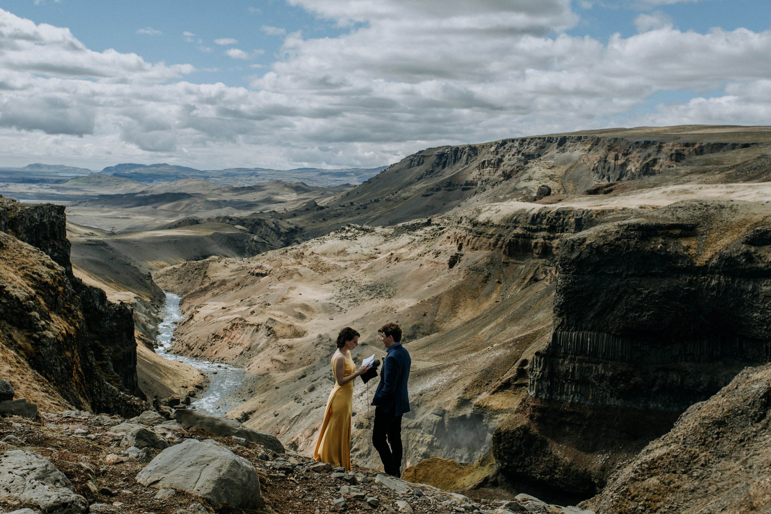 iceland elopement in canyon