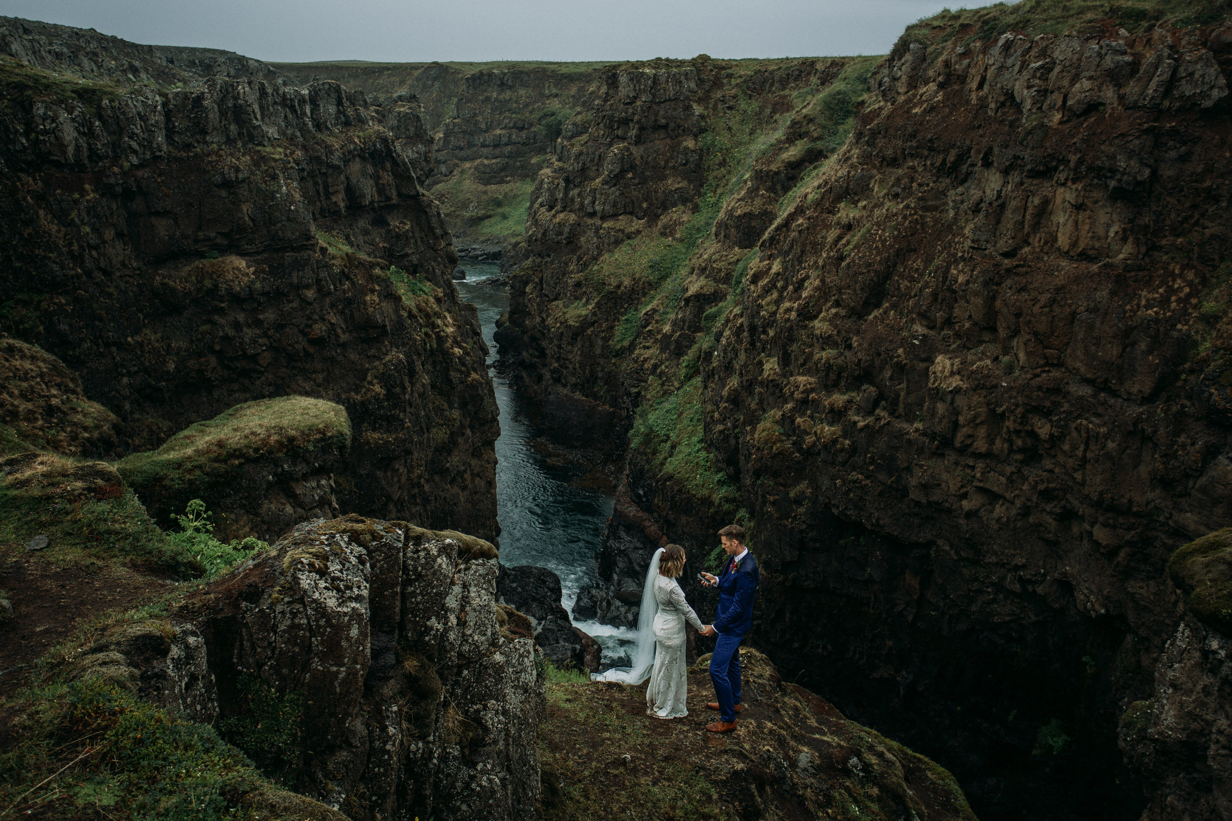 iceland canyon elopement