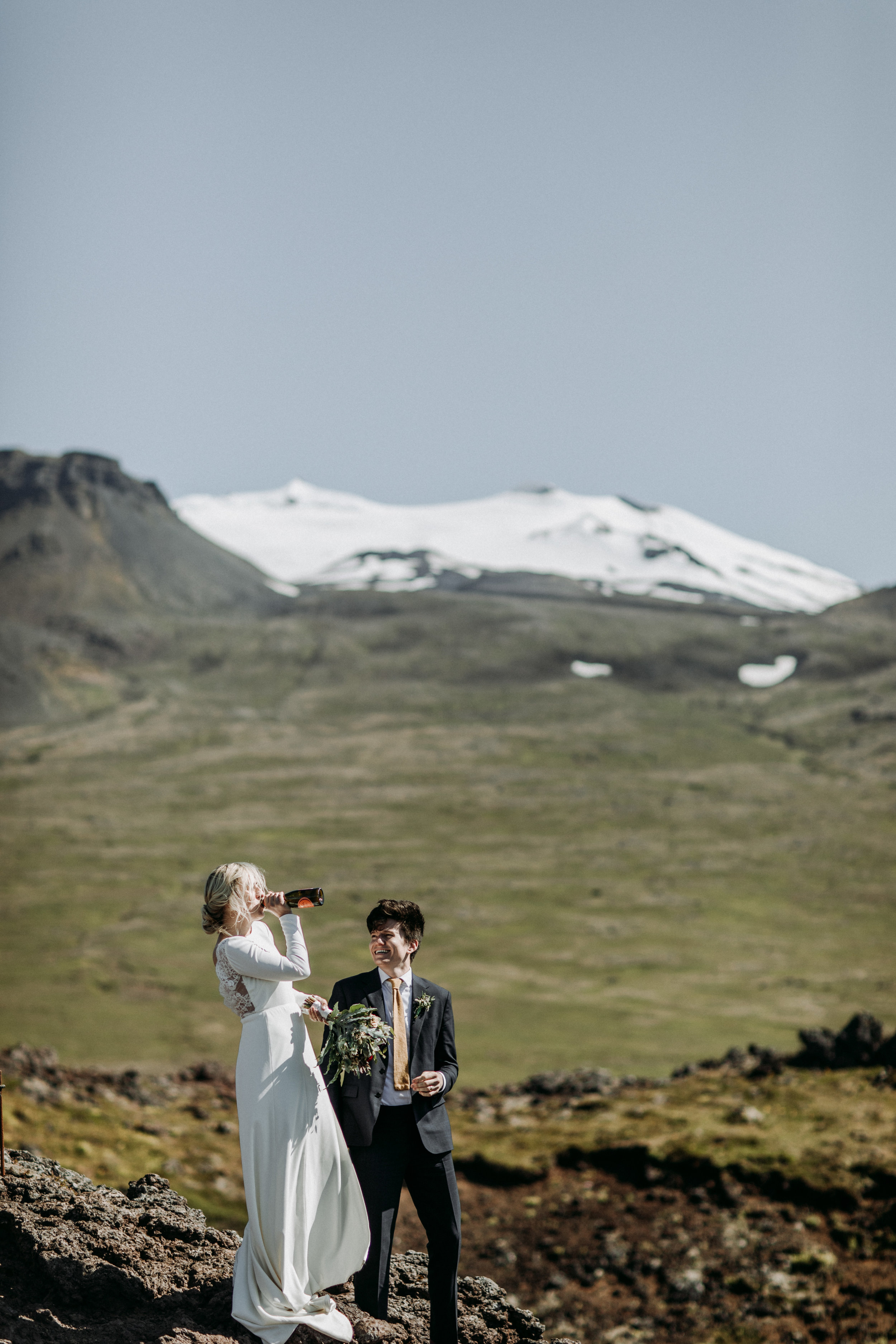 iceland wedding champagne pop
