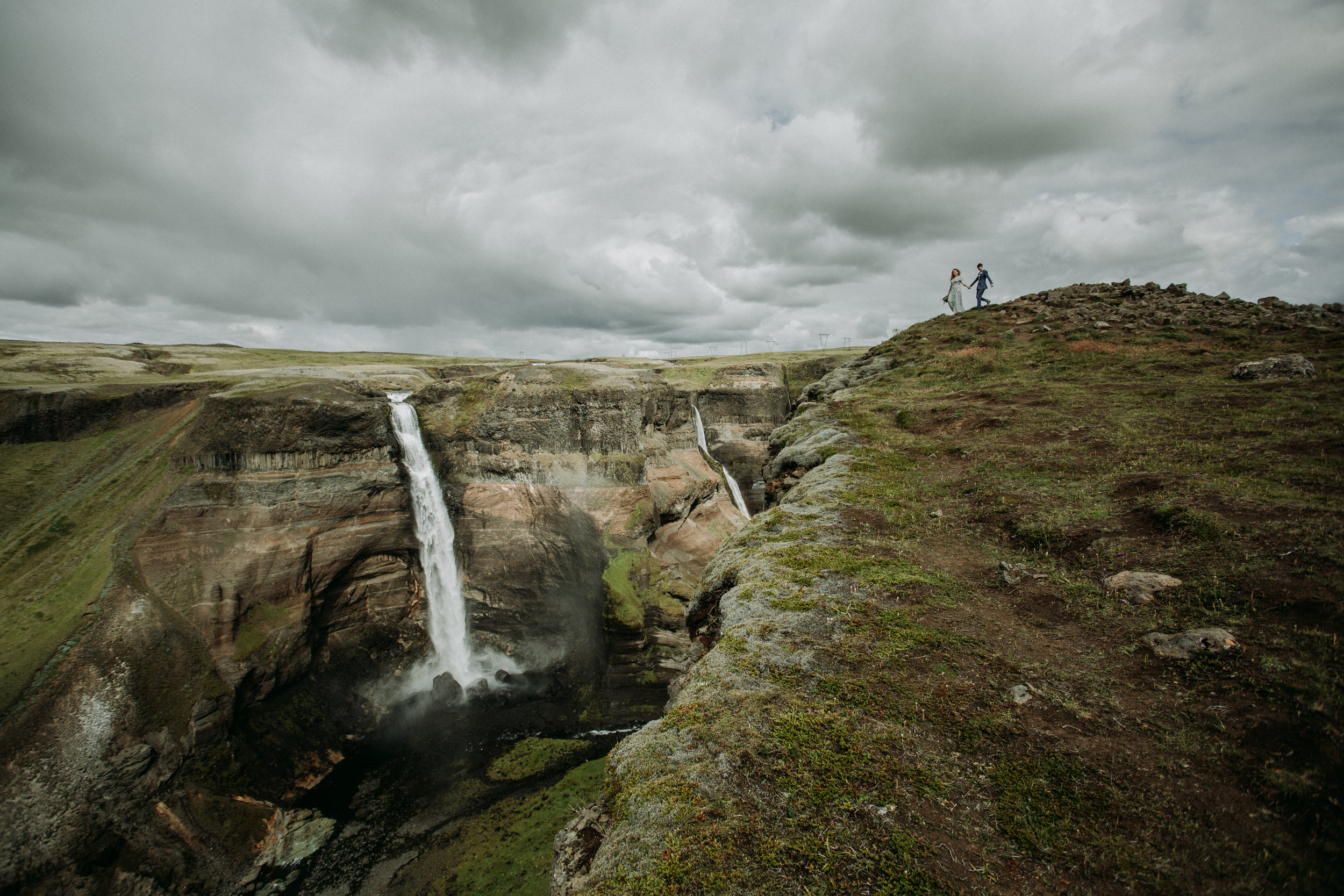 iceland waterfall elopement in highlands