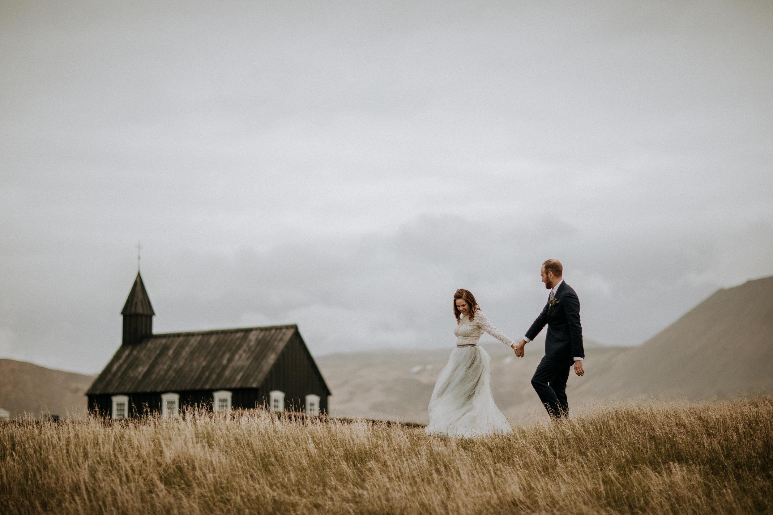 Budir black church Iceland elopement