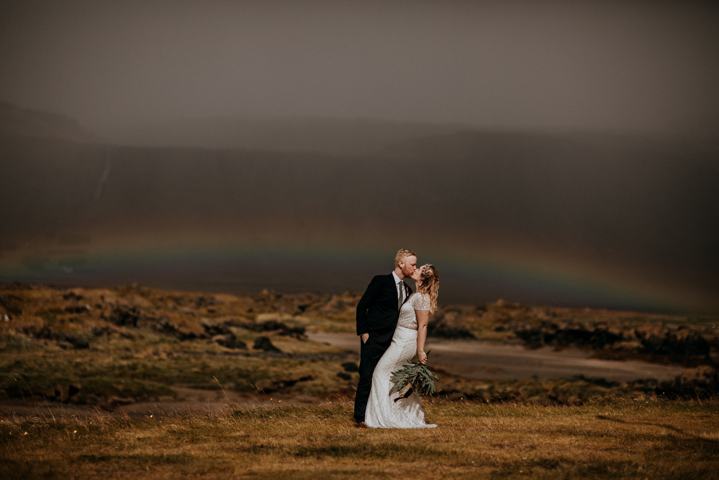 elopement photos under rainbow | best places to elope in Iceland