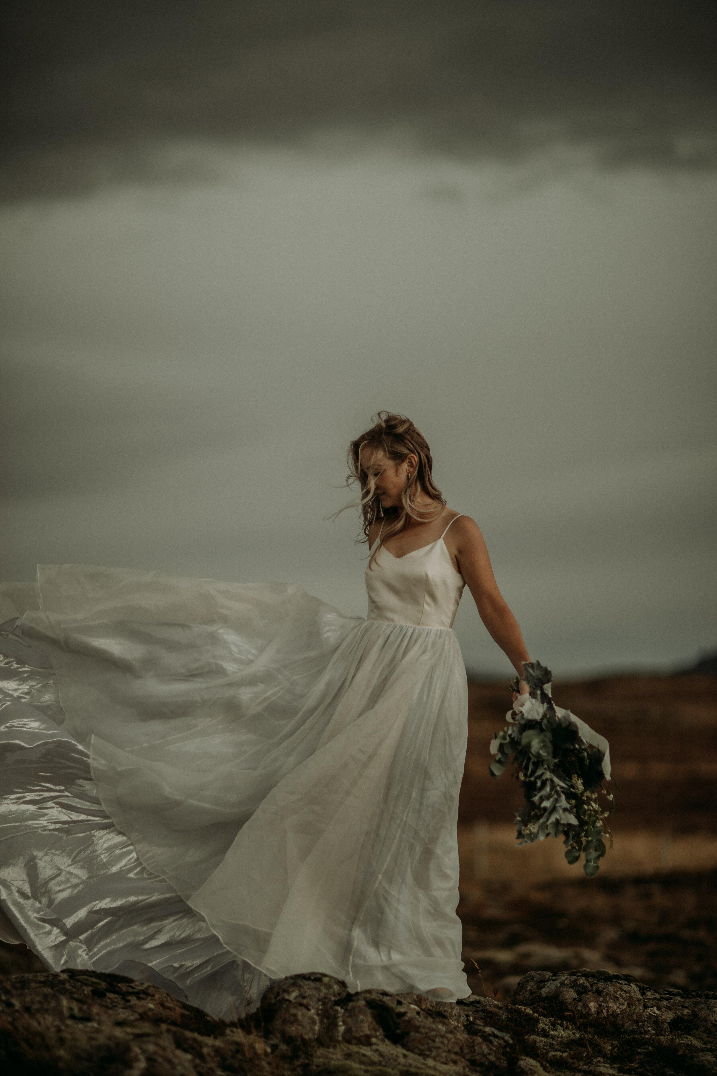 iceland elopement bride adventure wedding