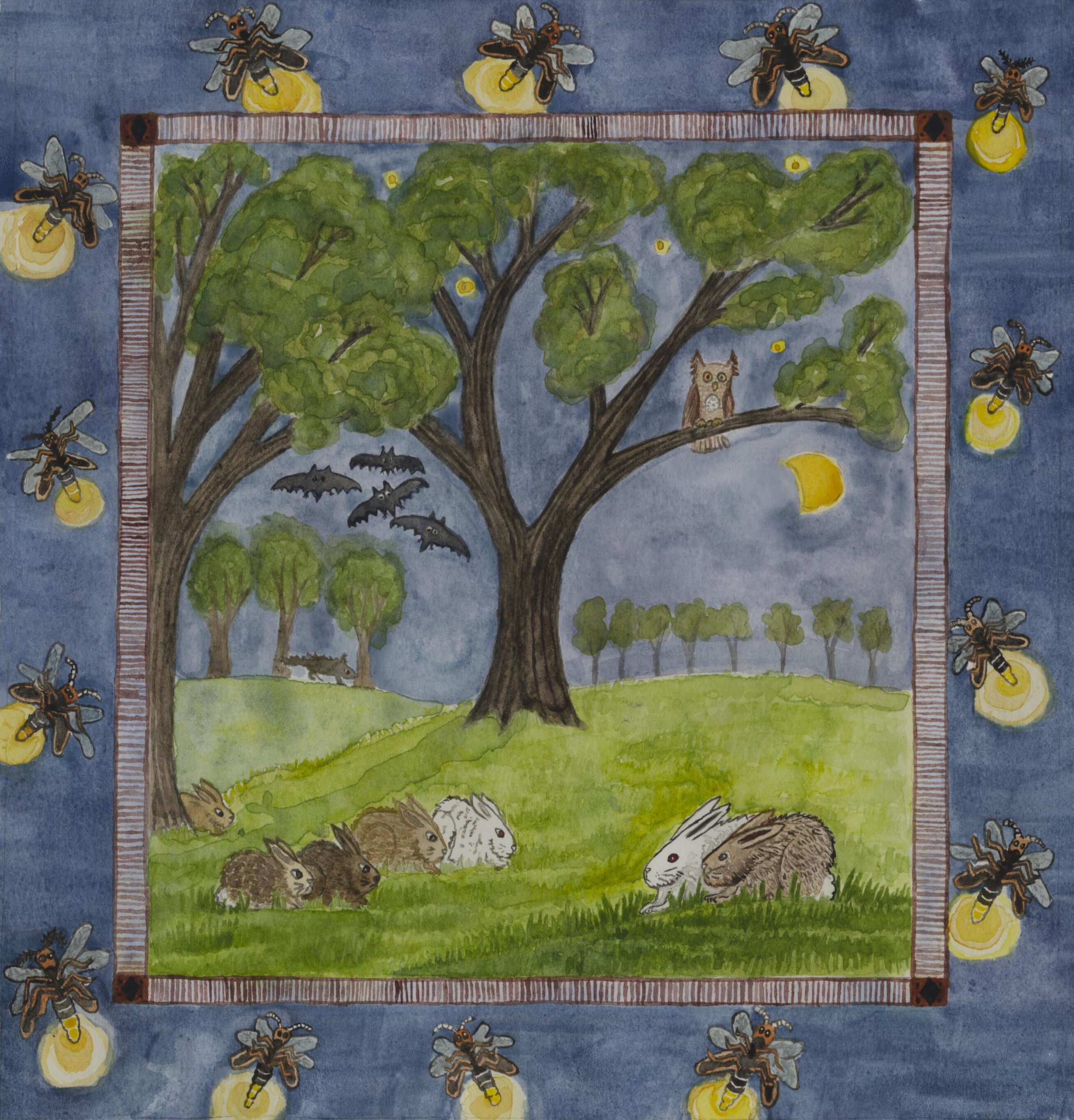 Five rabbits and fireflies