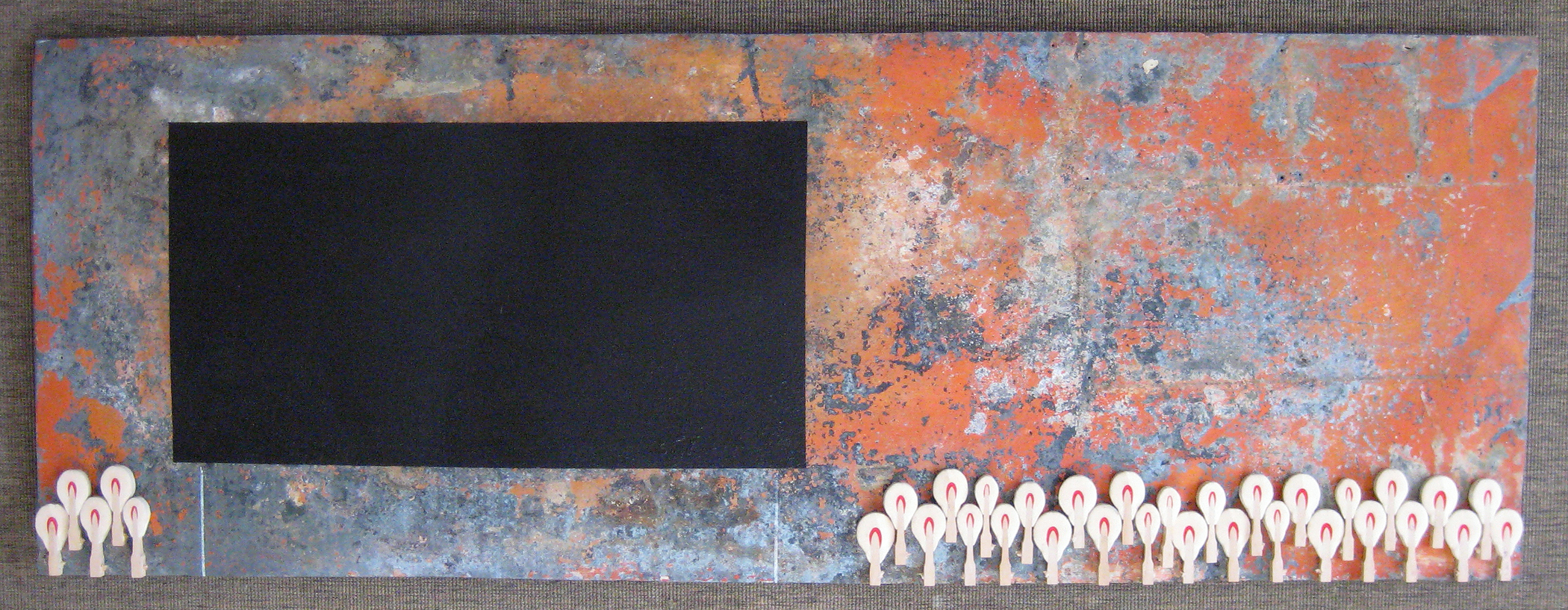 "Untitled (black billboard)    19"" x 53.25""  Acrylic, varnish, white charcoal, piano keys, on found metal   Price upon request"