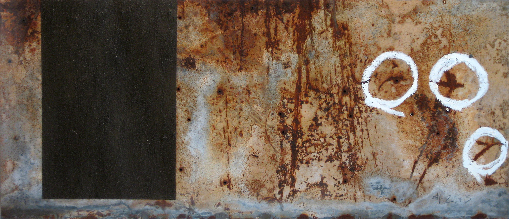 "#1, 2 + 3    19"" x 41.5""  Oil stick, graphite, varnish, dirt, on found metal   Price upon request"