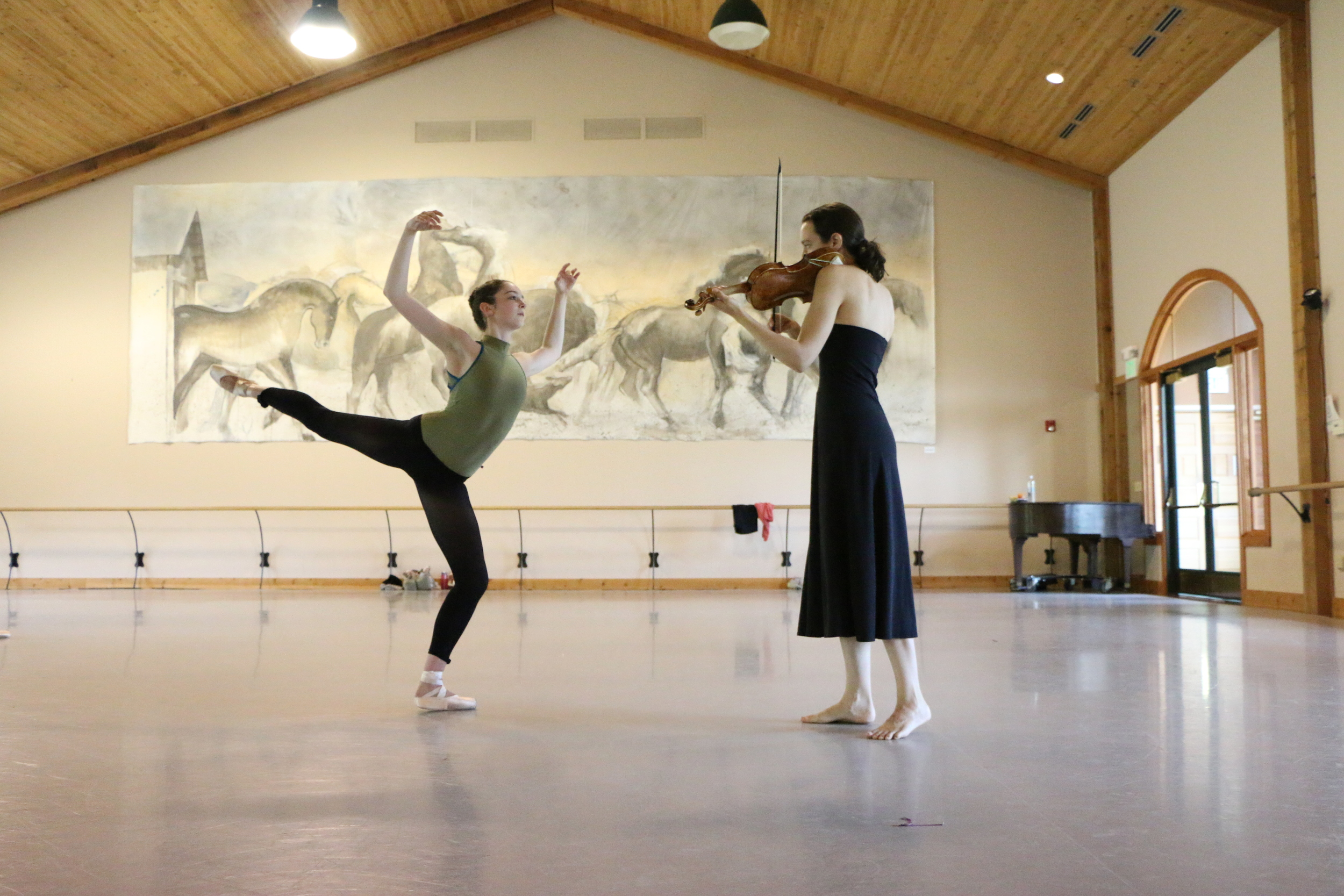 Gracie Huber and Liv Heym rehearsing Querencia by Michele Wiles
