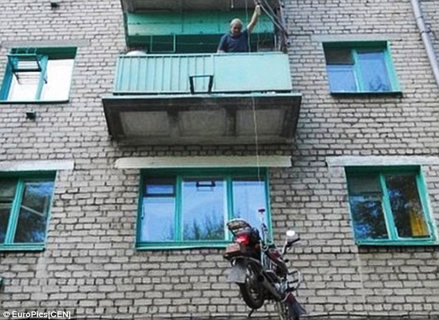Image: http://www.dailymail.co.uk/news/article-2705856/I-like-park-I-Russian-man-solves-crime-issue-winching-motorbike-outside-3rd-floor-window.html