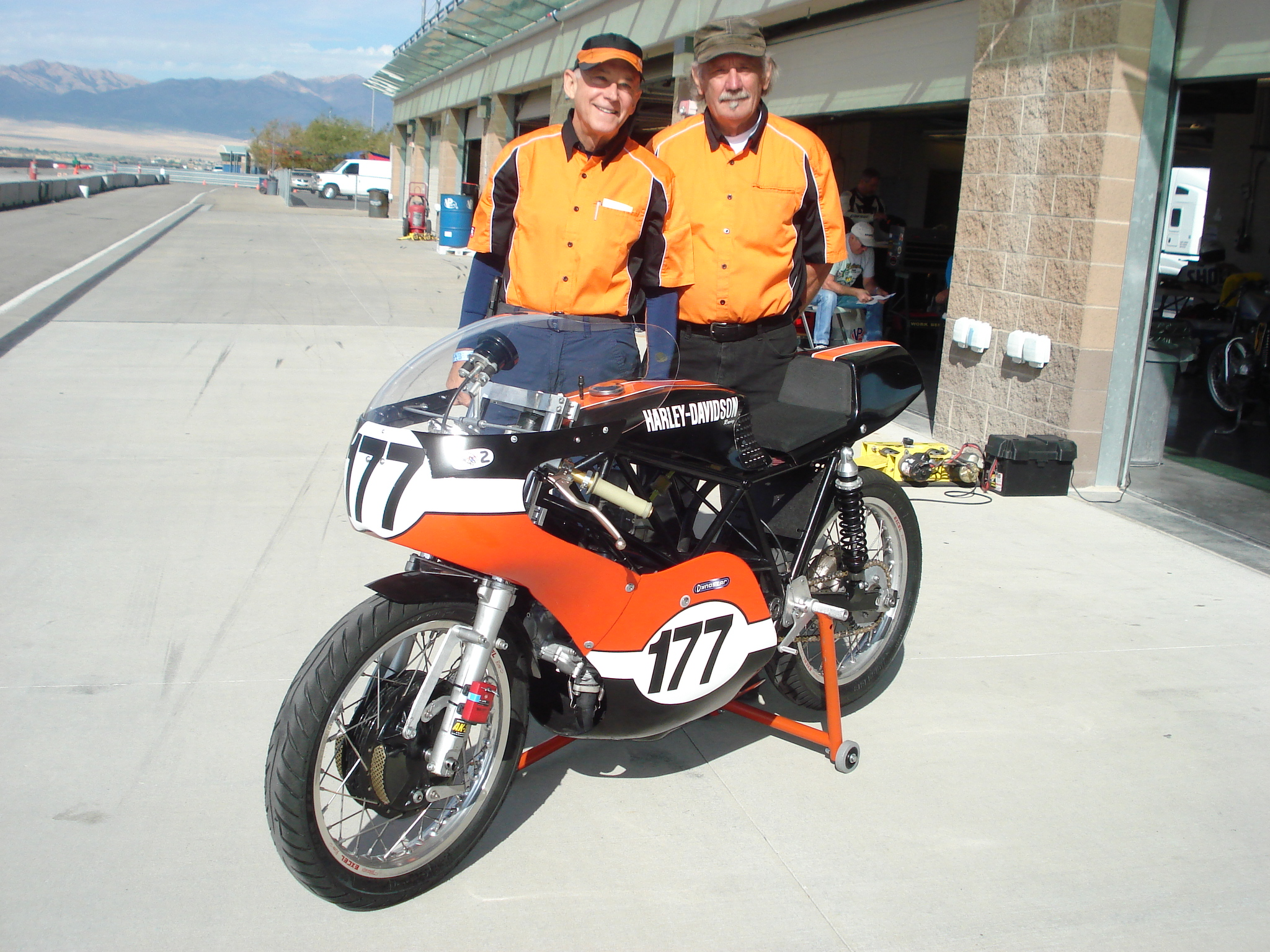 Walt Fulton (left) and Karl Engellenner (right) at Miller Motorsports Park a few years ago. The bike is Karl's 350 Aermacchi that Walt rides.