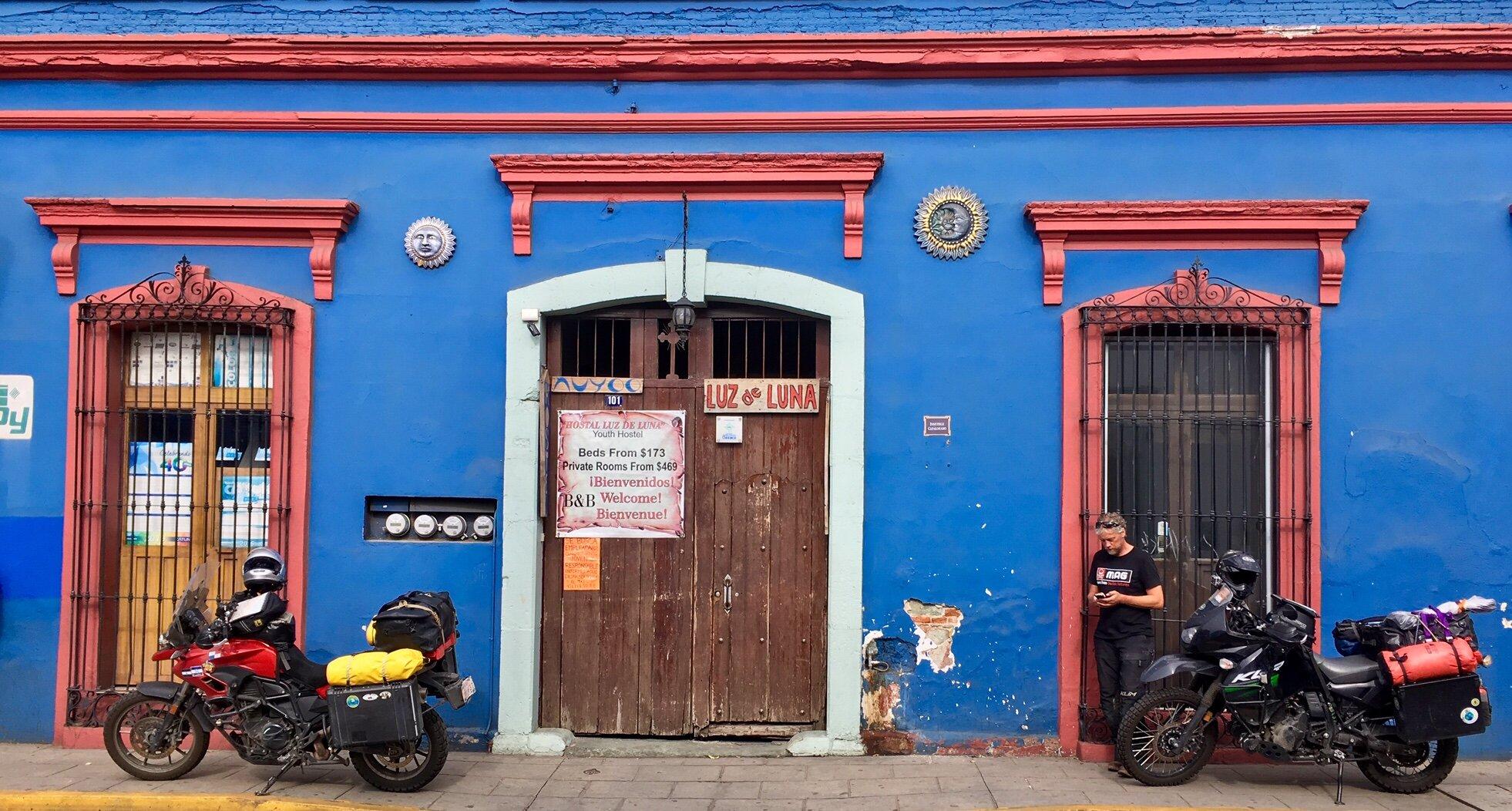 Image: Jeremy Kroeker and Elle West - Loading up outside the hostel in Oaxaca.
