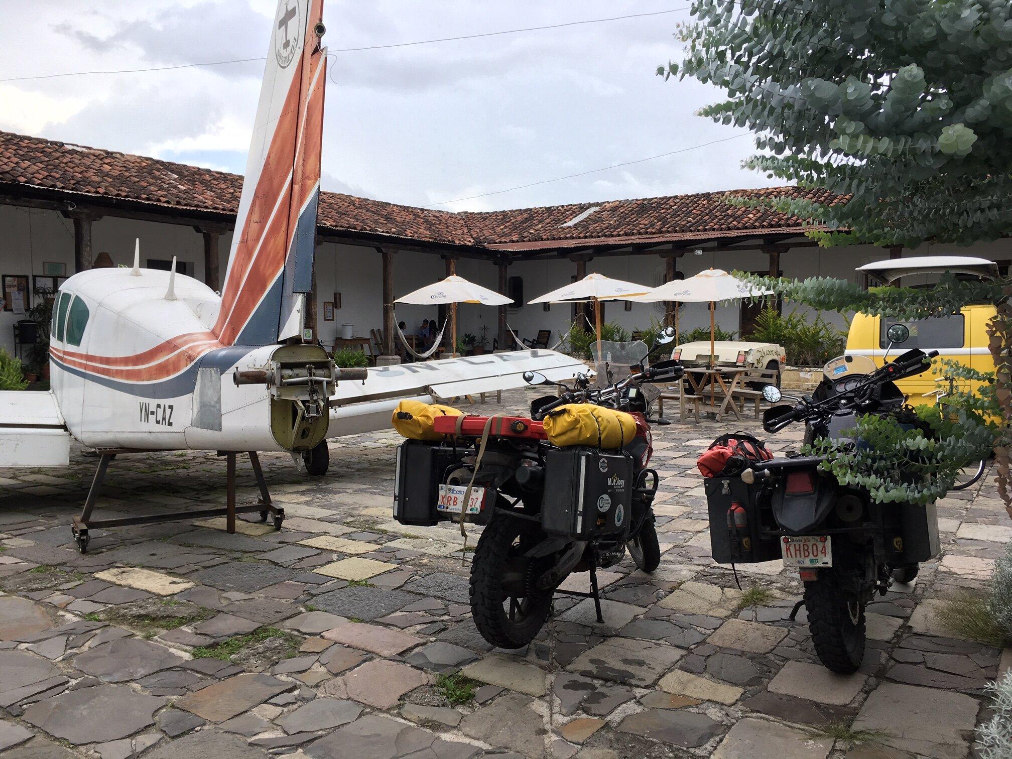 Inside the hostel courtyard, beside the airplane. (Antigua, Guatemala)