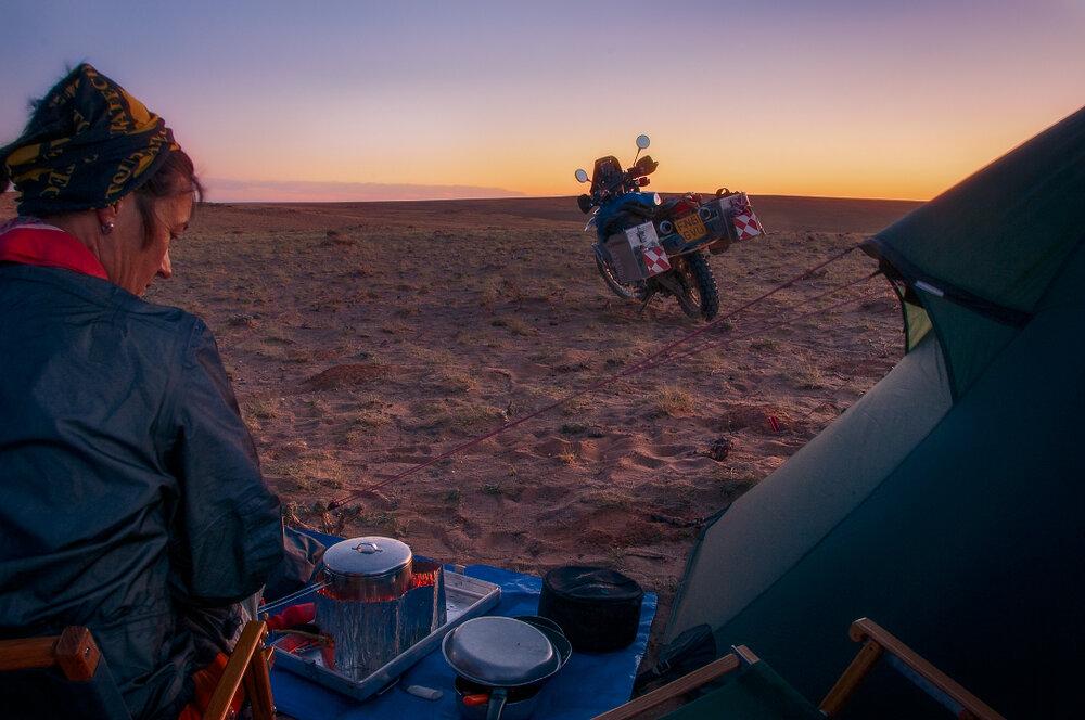 Lisa Thomas camping in Mongolia