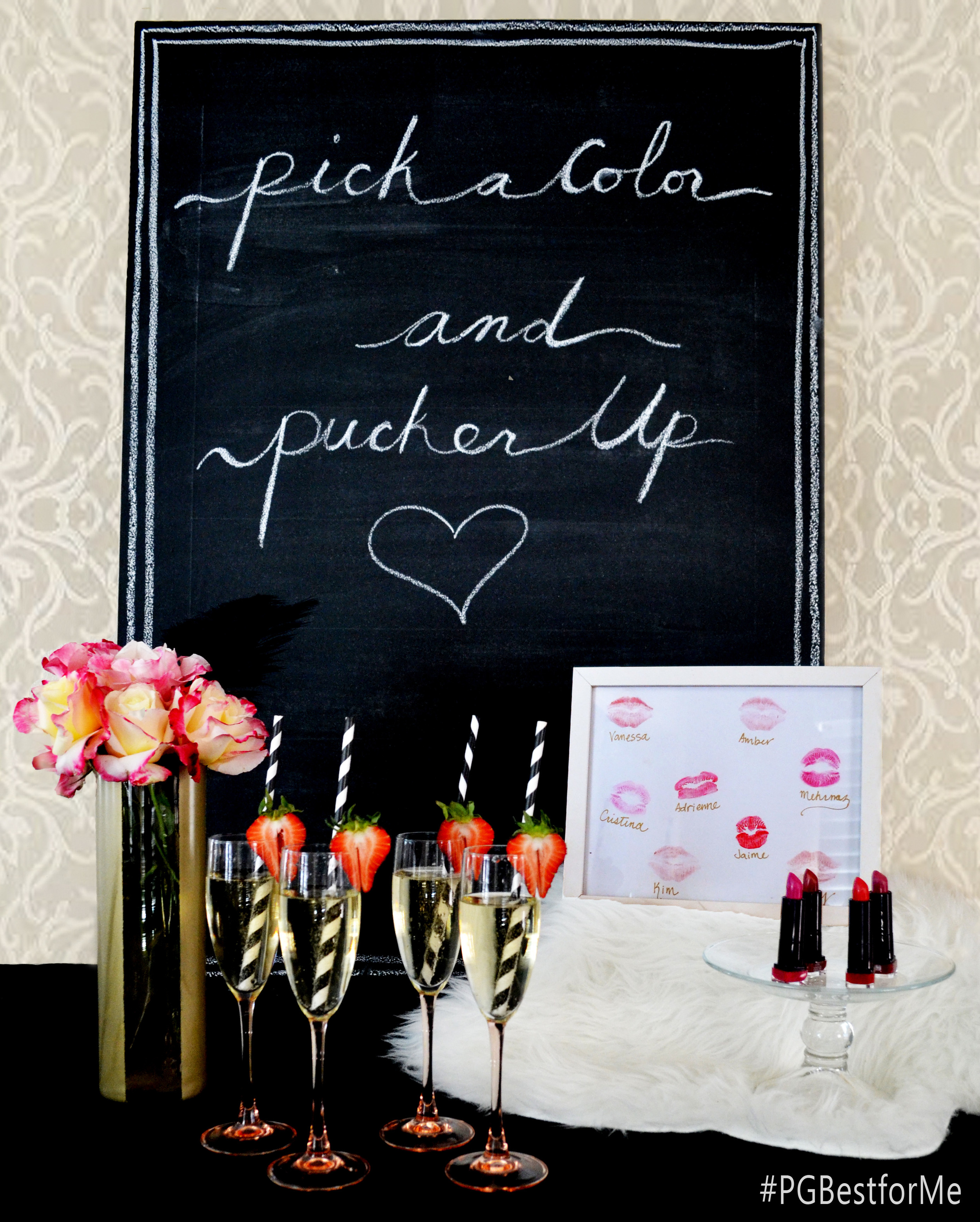 Planning a bachelorette party or girls night out? Have your girlfriends pick a color and pucker up on a piece of paper as a keepsake for the special lady.