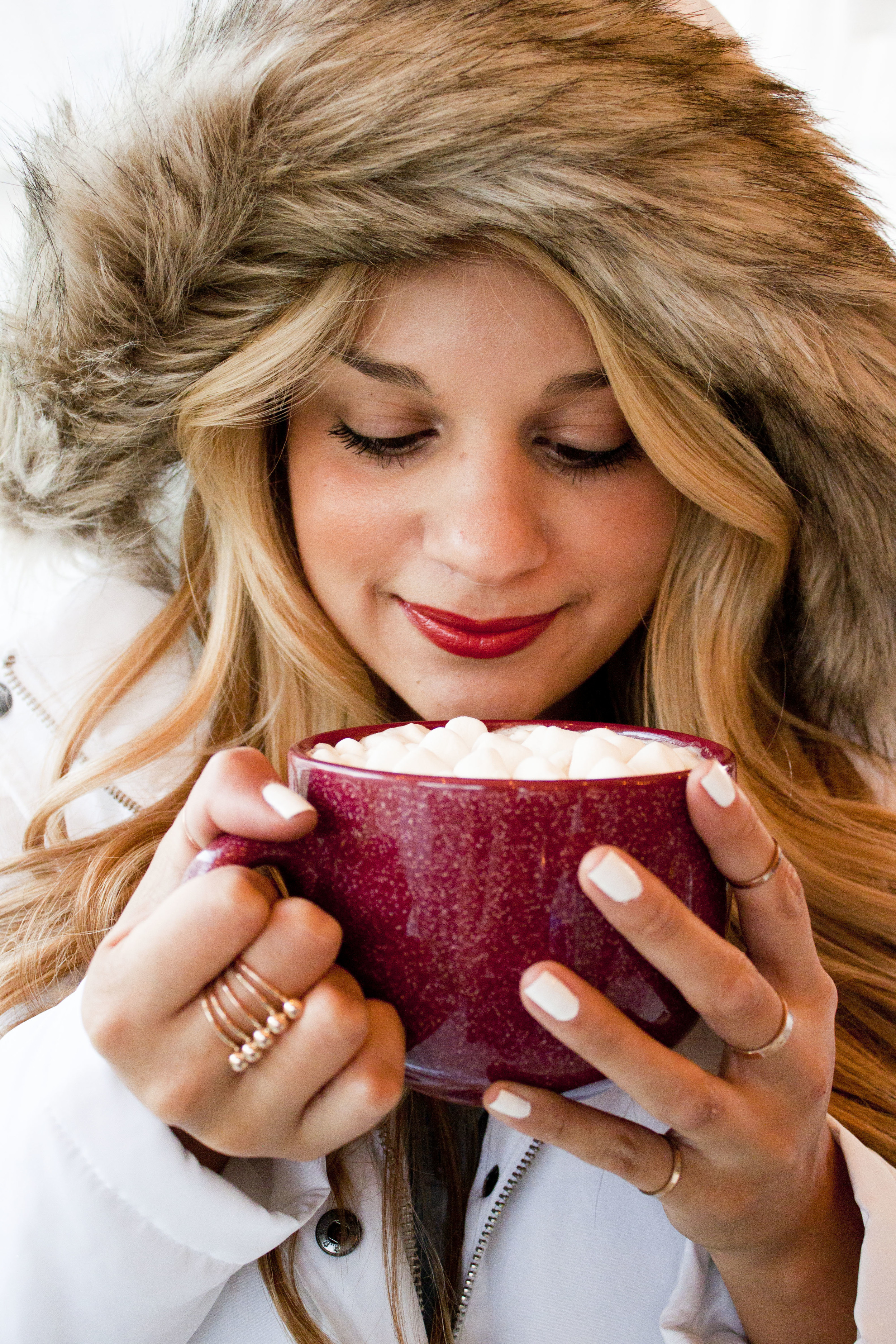 Nothing warms me up faster than a cup of hot cocoa and my Liz Claiborne fur trim anorak.