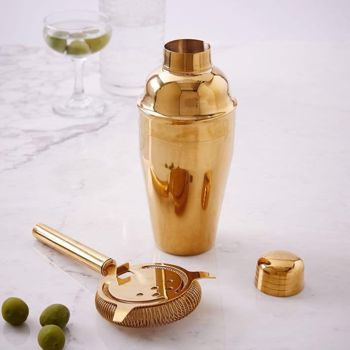 Gold Cocktail Shaker + Strainer